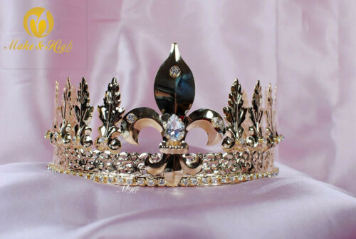King Crystal Gold Tiara Diadem Crown Men