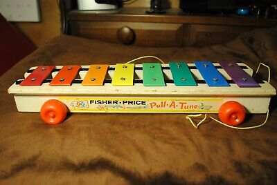 Used Vintage 1964 Fisher Price Wooden PULL-A-TUNE Xylophone Pull Toy #870