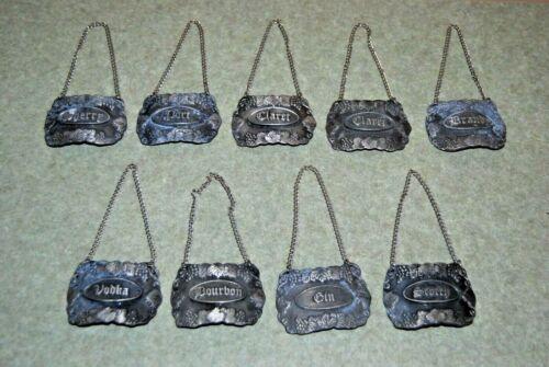 9 Vintage BACCHUS Pewter Liquor decanter tags GiN - VODKA - PORT - BRANDY