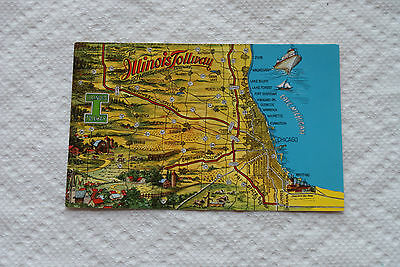 Older Of Maybe Vintage Postcard The Illinois Tollway Map Kodachrome Reproduction