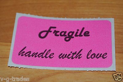 Lot Of 100 Pink Fragile Handle With Love Shipping Stickers Care 2x1 Inch