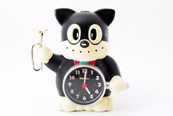Vintage Rhythm Black Cat w/ Bugle Japan Speak Up Alarm Clock  [very good]
