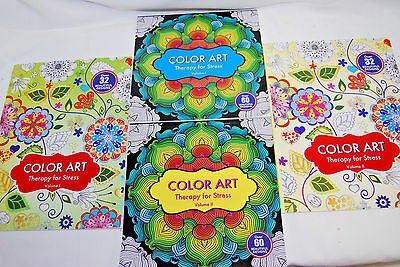 1-Lot of 4 / ADULT THERAPY FOR STRESS COLORING BOOKS (VOL. 1 & 2) (NEW) (#S7317) - Coloring Therapy For Adults