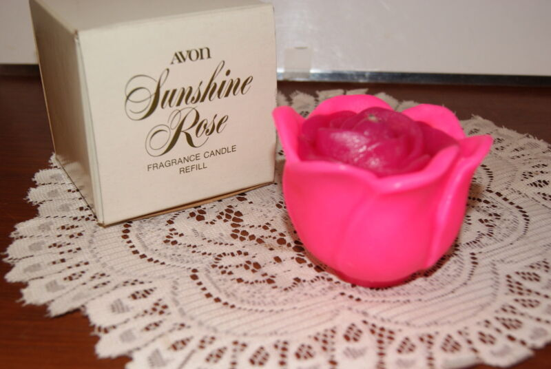 AVON 1973  SUNSHINE  ROSE  FRAGRANCE  BRIGHT  PINK  CANDLE  REFILL