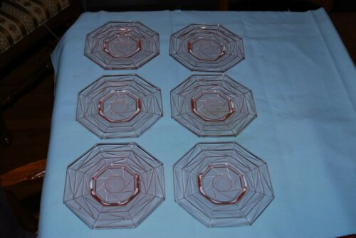 Set of 6 Indiana Pink Depression Glass