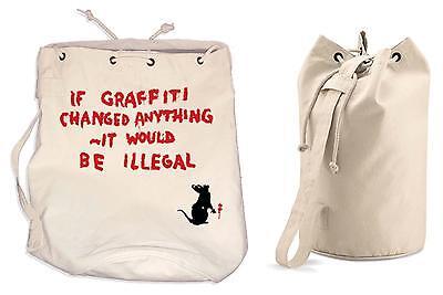 BANKSY IF GRAFFITI CHANGED ANYTHING DUFFLE BAG - College Rucksack Gym Backpack