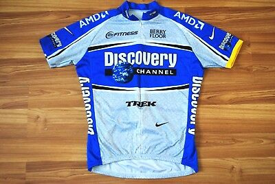 77d8005a5 NIKE DISCOVERY CHANNEL CYCLING JERSEY TOP SHIRT BLUE TRIKOT MAGLIA ZIP LARGE