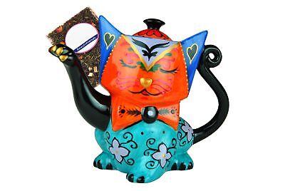 Design Teekanne Katze orange blau Jameson & Tailor Porzellan Kanne + Teeprobe