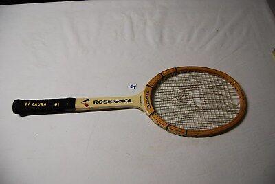 E1 Ancienne raquette Rossignol - Vintage - bois et cuir 1960