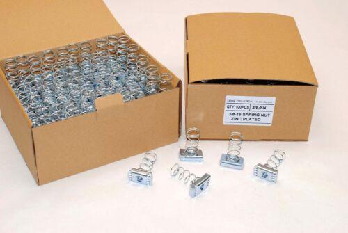 (100) Strut Channel Nuts 3/8-16 Standard Spring Zinc Plated Unistrut Nut