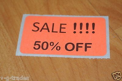 Lot 200 Orange Sale 50 Off Price Labels Stickers Tags Retail Store 2x1 Inch