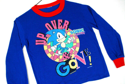 Vintage 90s Sega Sonic The Hedgehog Sweatshirt T Shirt Blue Youth Boys L 14-16