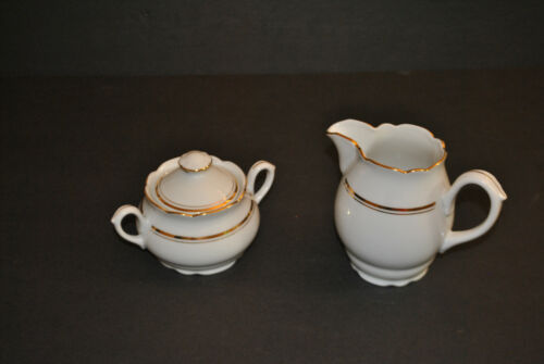 MZ Czechoslovakian White Porcelain with Gold Trim Creamer and Sugar Bowl