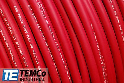 Welding Cable 20 Red 50 Ft Battery Leads Usa New Gauge Copper Awg
