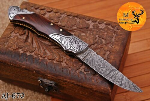 HAND FORGED DAMASCUS STEEL FOLDING POCKET KNIFE WITH WOOD HANDLE - AJ 670