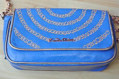 ZANDRA RHODES DESIGNER BLUE GOLD DETAIL SHOULDER BAG LONG PEARL GOLD CHAIN STRAP