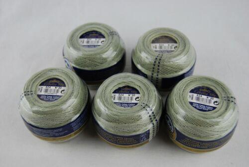 Lot of 5 DMC Cebelia Cotton Crochet Thread Yarn 50 Grams Size 30 Green #524 NEW