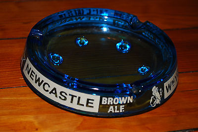 "5"" New Castle Brown Ale Clear Blue Glass Collectable Ashtray, McEwan's"