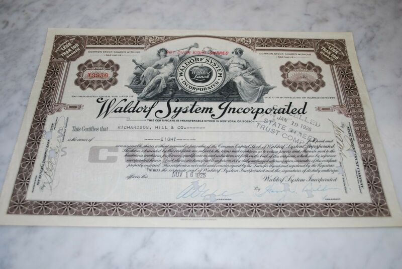 Stock Certificate - Waldorf System Incorporated – Massachusetts 1925