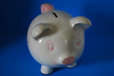 Piggy Bank Ceramic Ivory w/ Pink & Lavender Trim