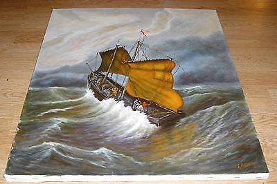 NAUTICAL MARITIME STORM OCEAN WAVES FISHING SAIL BOAT WIND HURRICANE PAINTING