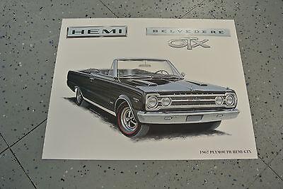 (NOS 1967 Plymouth Hemi Belvedere GTX Art Picture Print Dealer Advertising MOPAR)