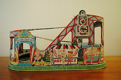 Nice Vintage CHEIN TIN LITHO WIND UP Carnival ROLLER COASTER