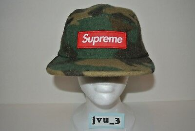 NEW SUPREME FW17 CAMO WOOL CAMP CAP GREEN box logo hat comme nas woodland cdg