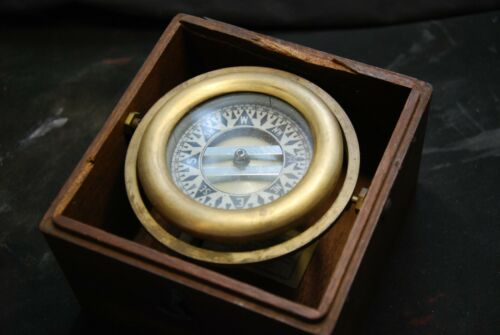Early Vintage Wilcox Crittenden Nautical Brass Gimbaled Compass In Wooden Box