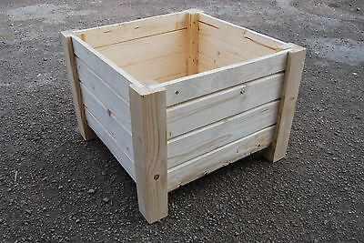 Very Big Square Wooden Pot 55 x 55 x 40 cm of Solid Wood Spruce For Decoupage
