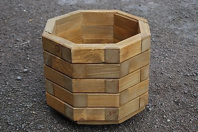 Wooden Octagonal Pot, Set of Two,32 cm Long of Solid Spruce in Light BrownColor