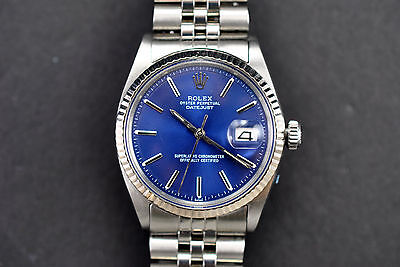 MANS STAINLESS  AND WHITE GOLD ROLEX  DATE JUST, 1601, BLUE DIAL, SERVICED, BOX