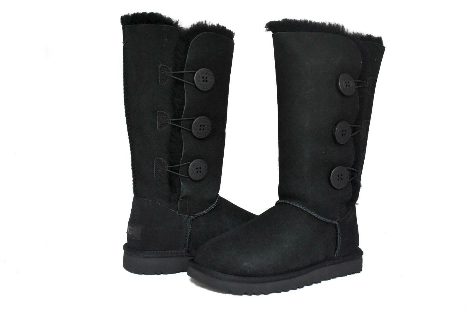 UGG Australia Women Bailey Button Triplet 2 II Boots 1016227 Black Chestnut Grey