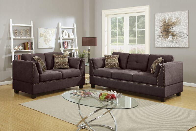 New Modern 2pc Sofa Set Dark Brown Velveteen Sofa & Loveseat Simple Cushion Sofa