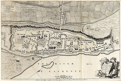 1758 Montreal or Ville Marie Town Map Art Poster Decor Vintage History Quebec