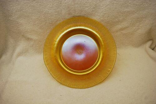 BEAUTIFUL UNSIGNED GOLD TIFFANY STEUBEN ONION SKIN ART GLASS DISH PLATE C1910
