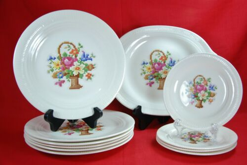 Salem China BASKET Set of 11 Pieces Floral Basket Gold Trim