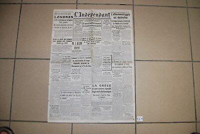EL1 Old French Journal - L'Indépendant - 1940 - WW2 Hitler War - Militaria guerr