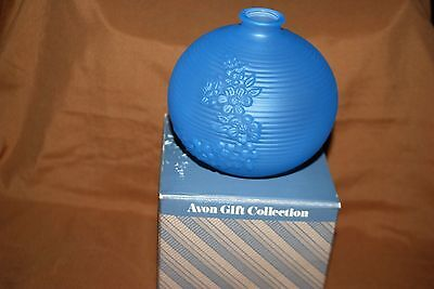 Avon Gift Collection Frosted Bud Vase Blue Violet Flowers Roses NIB Rare Disc