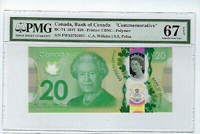 CANADA $20 Dollars 2015, PMG 67 EPQ SUPERB GEM UNC,  Commem. BC-74