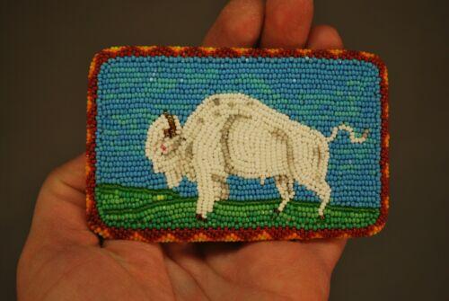 "Vintage Native American Plains Indian White Buffalo Beaded Belt Buckle 3 1/2"""