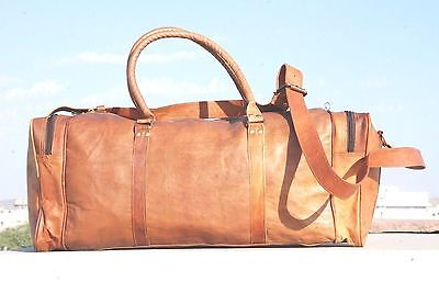 New Men's duffel genuine Leather large vintage travel gym weekend Holldall bag