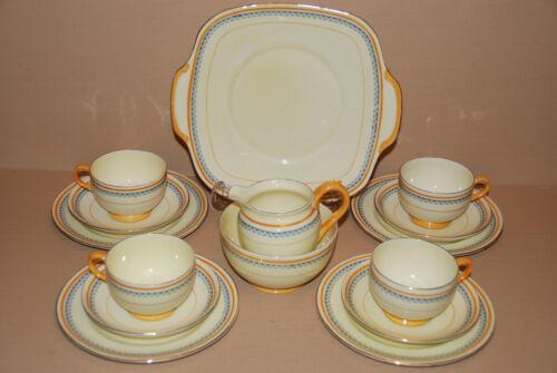 Crown Staffordshire 15 Piece Art Deco Tea Set c 1937