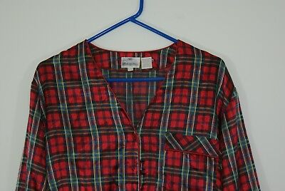 Women's Red Plaid Christmas 2 Piece Pajamas Size Large