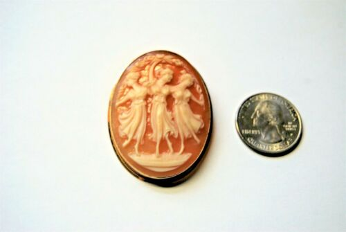 "Estate Antique Shell Cameo ""Three Graces"" 18K Yellow Gold Pendant & Pin Stamped"