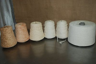 Lot #3 6 cones of fiber/yarn weaving/knitting/crochet/crafts