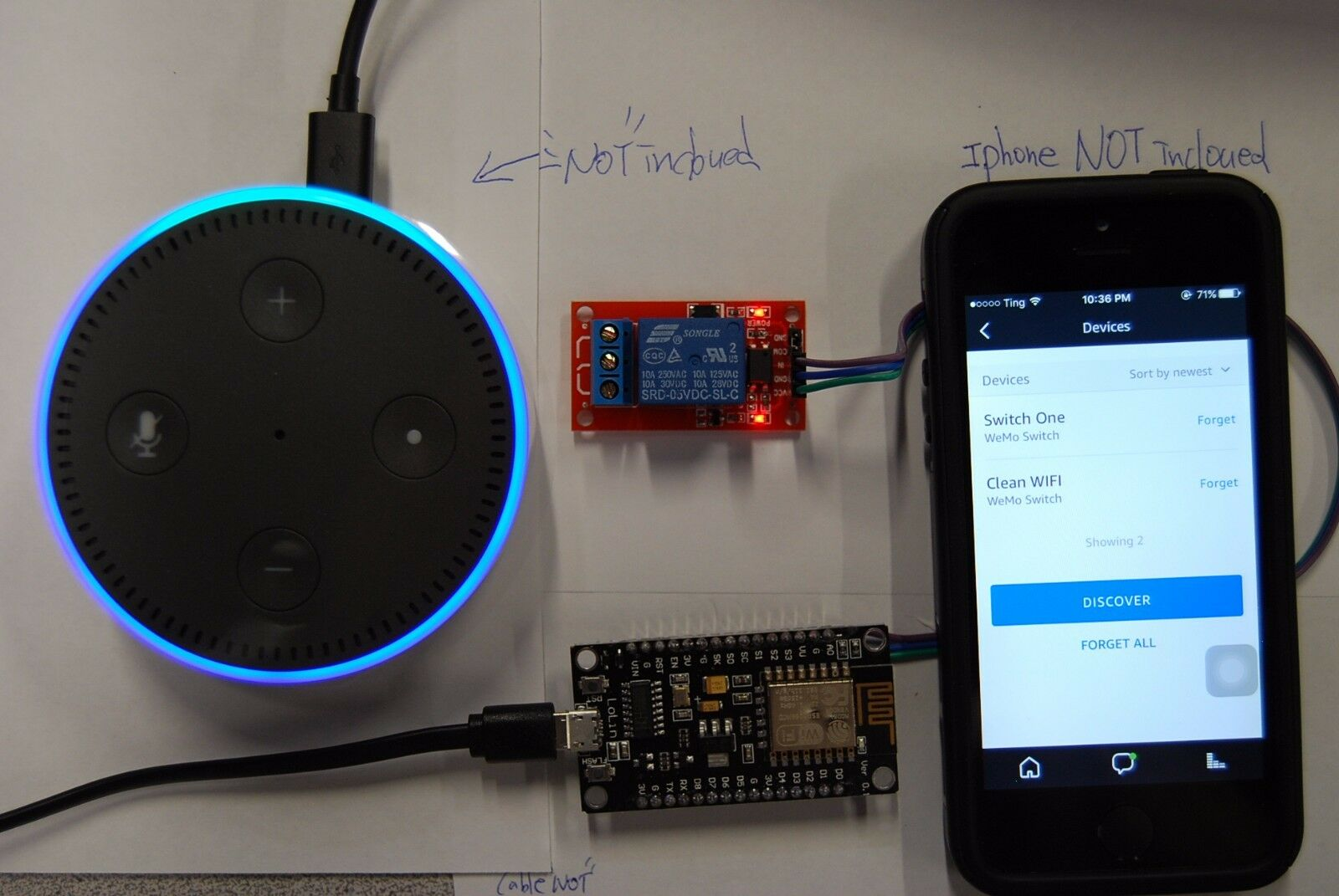 """Alexa Amazon Echo WiFi """" Momentary """" 1 Relay Switch - Turn ON 3 seconds and OFF"""
