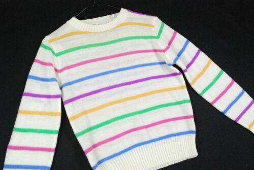 Vintage 70s Danik Pastel Easter Rainbow Striped Sweater Youth Womens Medium