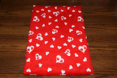 New RED VALENTINE'S PAW PRINTS HEARTS Fleece Dog Cat Pet Carrier Bed Blanket Pad