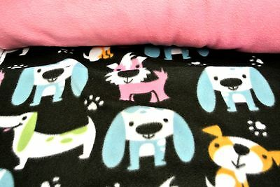 Terriers Dachshunds Dogs Pet Blanket Can Personalize Double Sided Pink 28x44